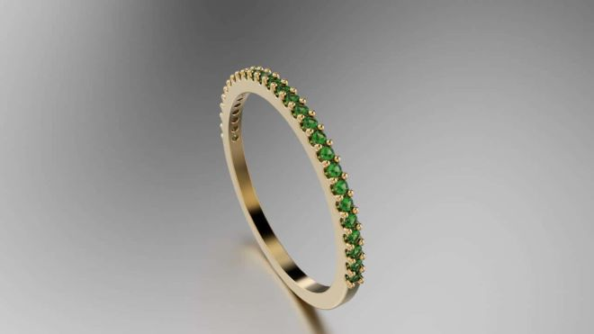 Emerald Simple Band for Moses #18681 Persp 1